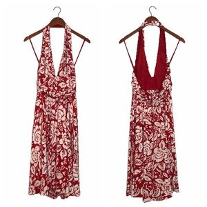 Moda International Silk Floral Halter Dress Size 6